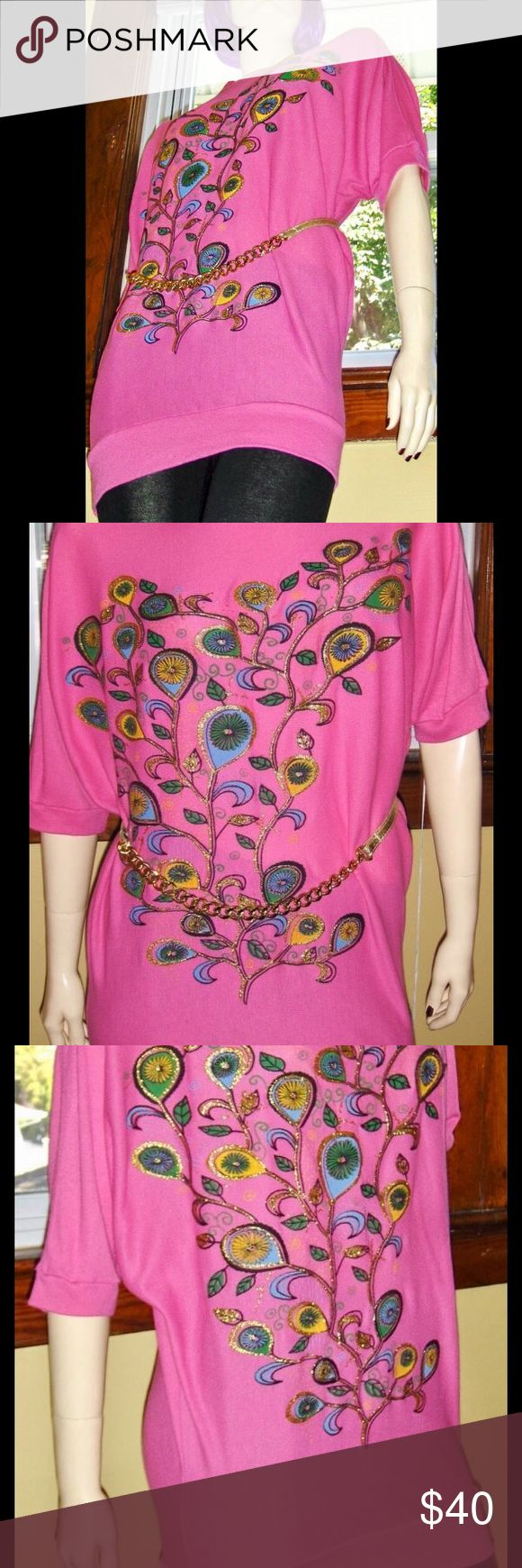 """VTG Paisley Psychedelic MOD Batwing Mini-dress Vintage DISCO, GLAM, MOD tunic top/minidress in NEON PINK w/Psychedelic 60s MOD paisley print on front outlined in gold glitter adding  DISCO GLAM appeal! Dolman batwing sleeves. Top tapers in at elasticized hem for a figure-flattering fit. A must-have for the 80s GLAM lover.  Size:ONE SIZE FITS ALL printed on label  Bust & Waist:Full & free 32"""" unstretched to app 36"""" (or 38"""") snug measured across hem Length:30"""" sh-hem Brand: N/I…"""