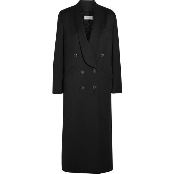 Temperley London Douglas wool-blend sateen coat ($775) ❤ liked on Polyvore featuring outerwear, coats, black, wool blend coat, wool blend double breasted coat, double breasted coat, temperley london and petite coats