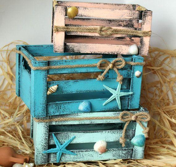 Rustikale Kisten, Set mit 3 Kisten, Shabby House Decor, nautische Holzkisten