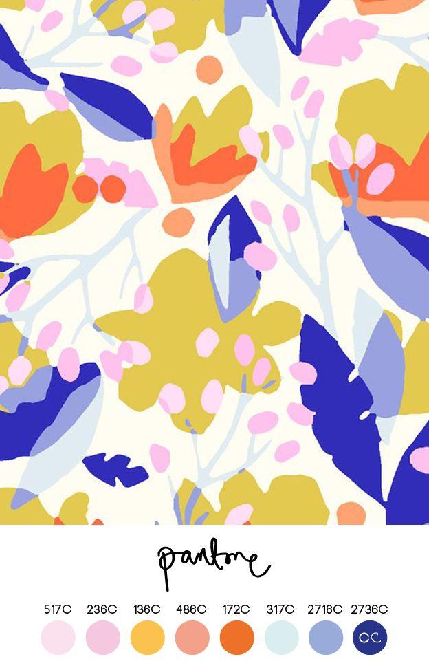 modern floral, colour, spring, mark making, design, simple, pattern