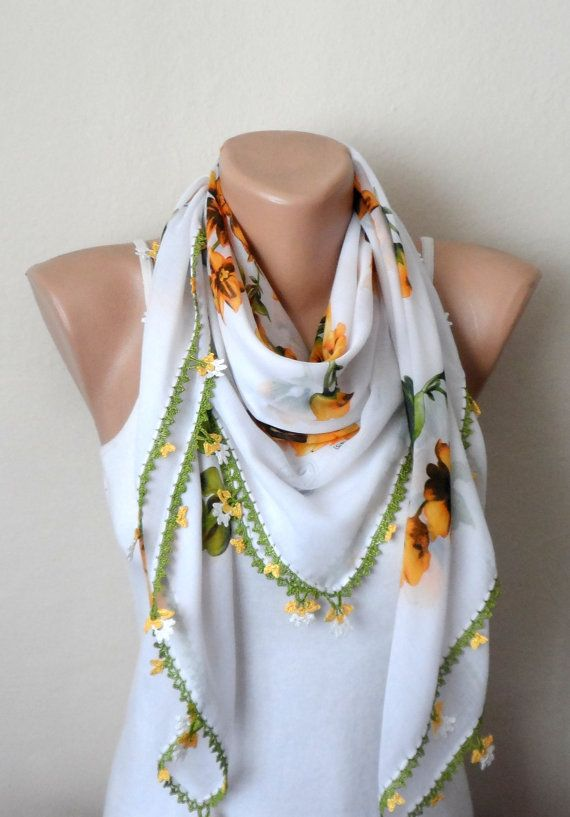 white scarf yellow scarf floral print scarf trendy by DamlaScarf