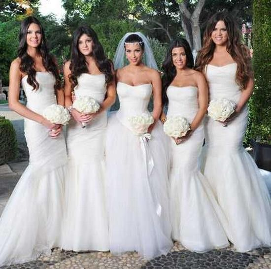 Kim Kardashian with her sisters at her wedding.