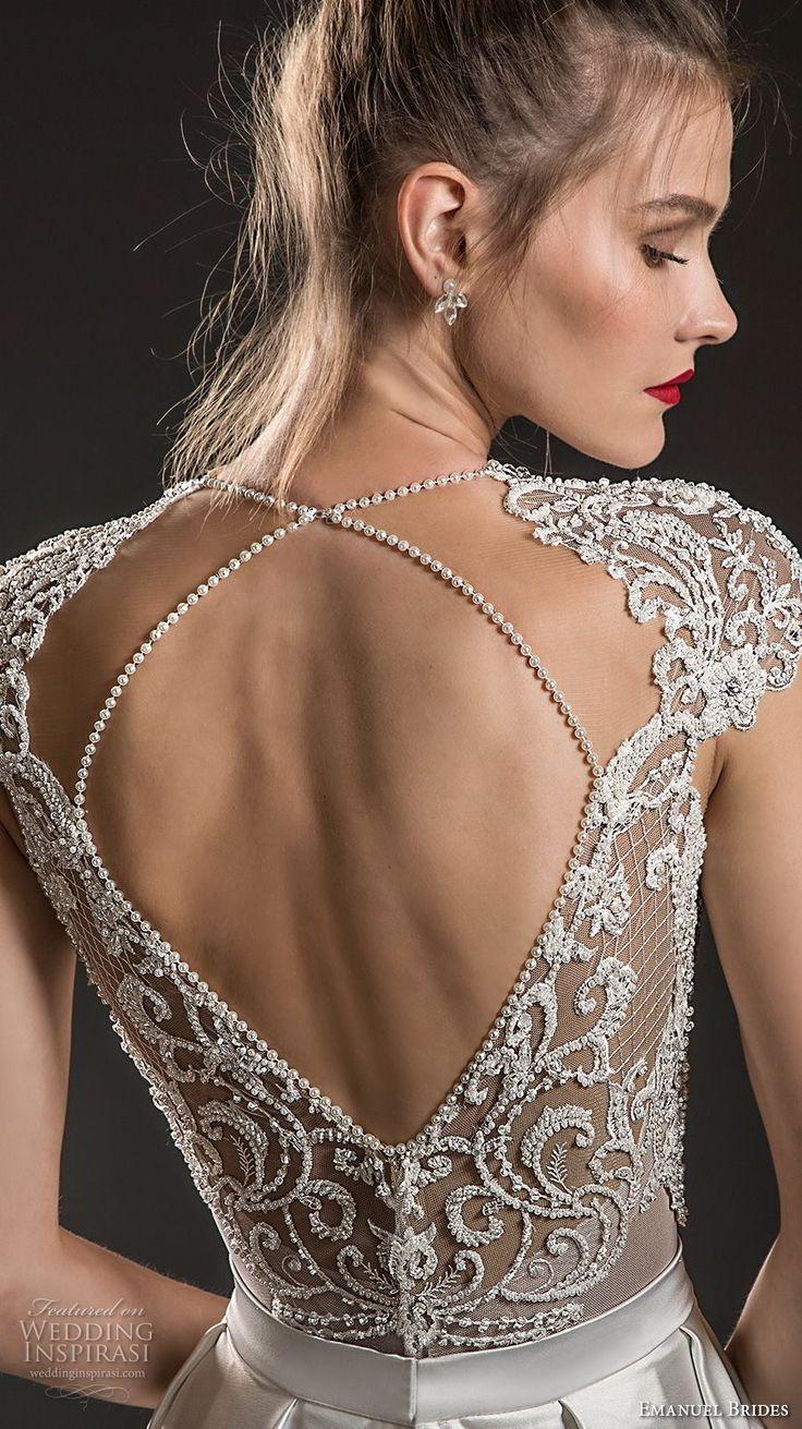 emanuel brides 2018 bridal cap sleeves deep v neck heavily embellished bodice se…