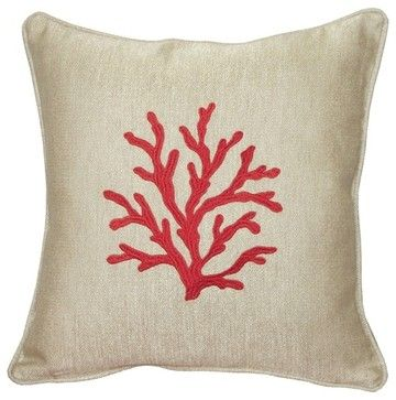 Pillow Decor - Sea Coral in Red 17 x 17 Throw Pillow - beach-style - Pillows - Pillow Decor Ltd.