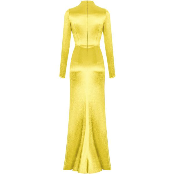 Long Sleeve Gown | Moda Operandi ($2,800) ❤ liked on Polyvore featuring dresses, gowns, yellow evening gown, yellow evening dress, yellow gown, yellow ball gown and yellow long sleeve dress