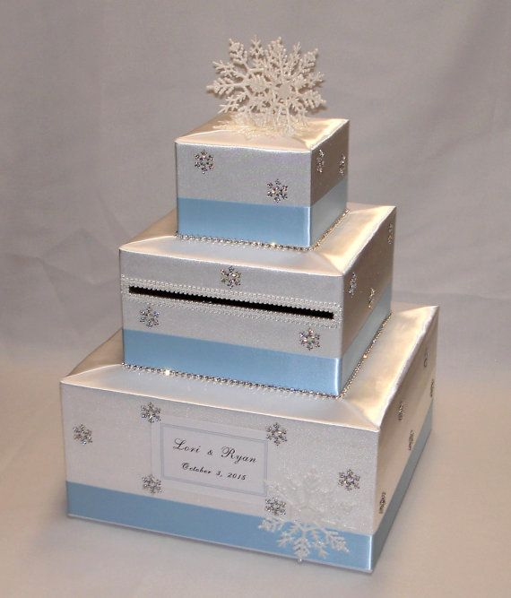 White and Ice Blue/Pale Blue Winter Wonderland/ Snowflakes theme Wedding Card Box