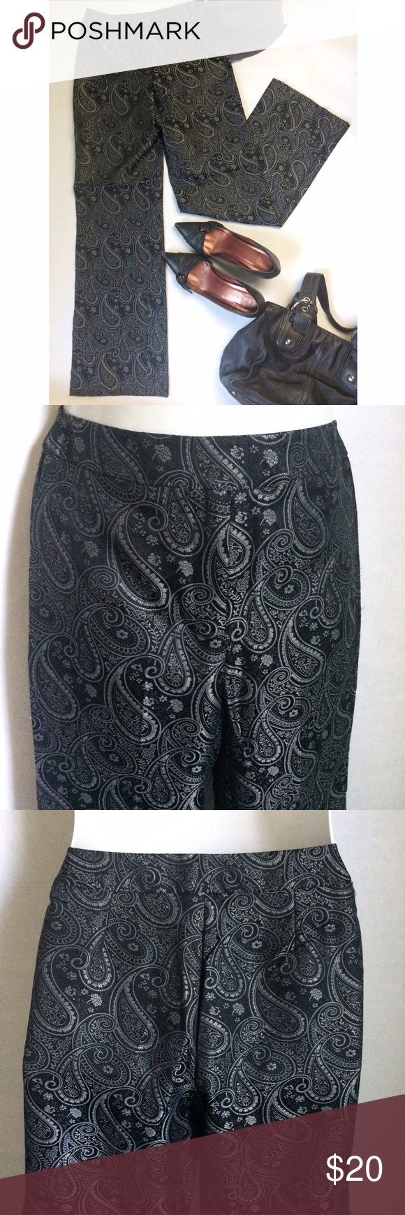 ✨NEW Listing✨New York & Co paisley pants NWOT New York & Co. black & silver paisley pants. High waist, straight leg, and zip front with hook & bar closure. Size 2. 53% nylon/47% polyester. Not interested in trades. NWOT New York & Company Pants Straight Leg