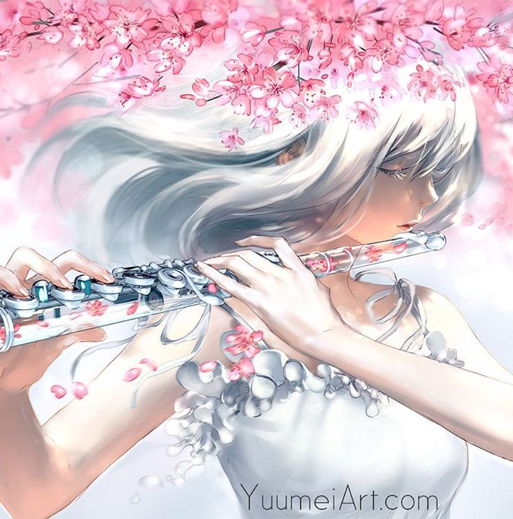 """@yuumeiart: """"A close up of my glass flute painting :) ______________  Petals fall With every motion Taking all…"""""""