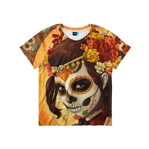 Детская 3D-футболка Девушка. Сахарный череп