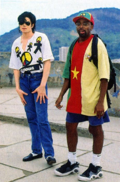"""Michael Jackson and Spike Lee posing during the """"They Don't Care About Us"""" video shoot"""