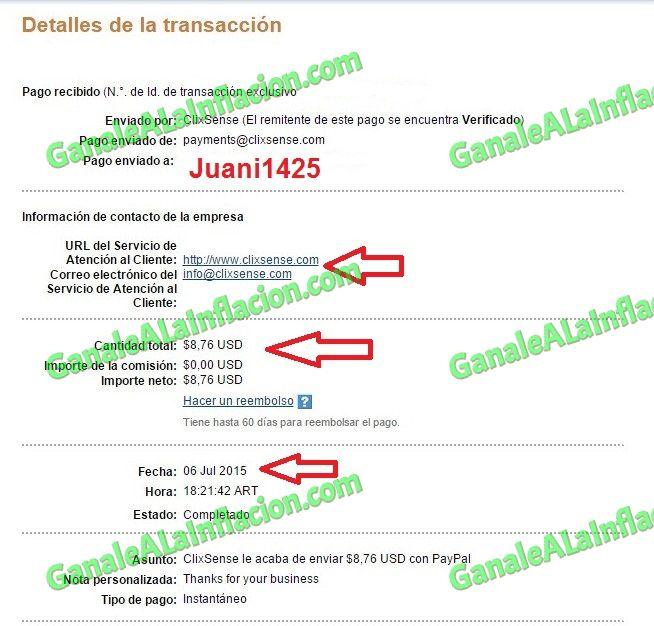 Tercer Pago ClixSense - $8,76 - 06-07-2015