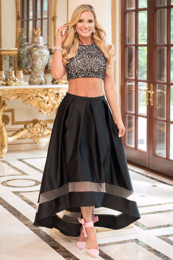 Nicole Bakti Sequin Top With A line Skirt