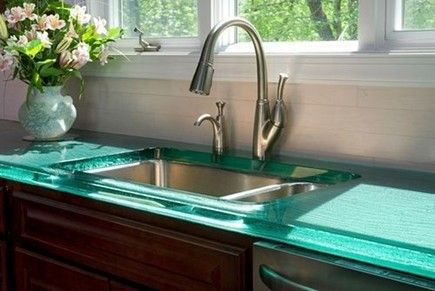 Being a non-porous material, glass countertops are virtually maintenance free, stain proof and very hygienic. It's a perfect choice next to a range or oven since heat won't cause it to crack or scorch.