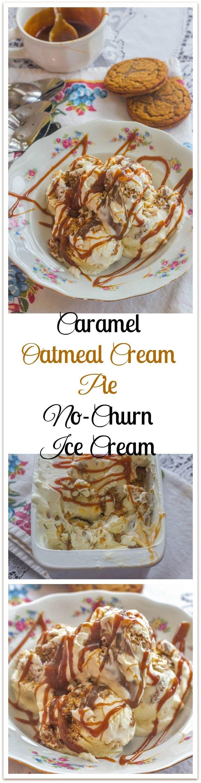 Caramel Oatmeal Cream Pie No-Churn Ice Cream. Store bought caramel sauce and oatmeal cream pies make this no-churn ice cream as decadent as it is easy to make.