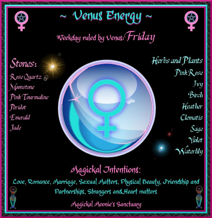 Magick Spells:  #Correspondences ~ FRIDAY ~ Venus Energy ~ Magickal Moonie's Sanctuary.