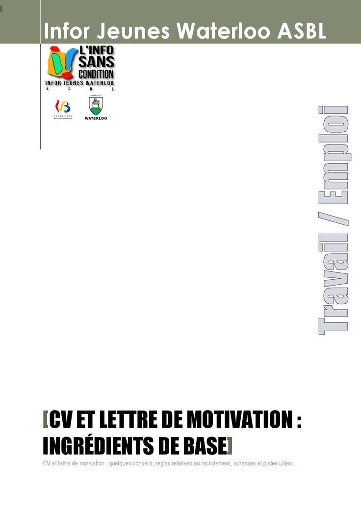 cv et lettre de motivation  ingr u00e9dients de base