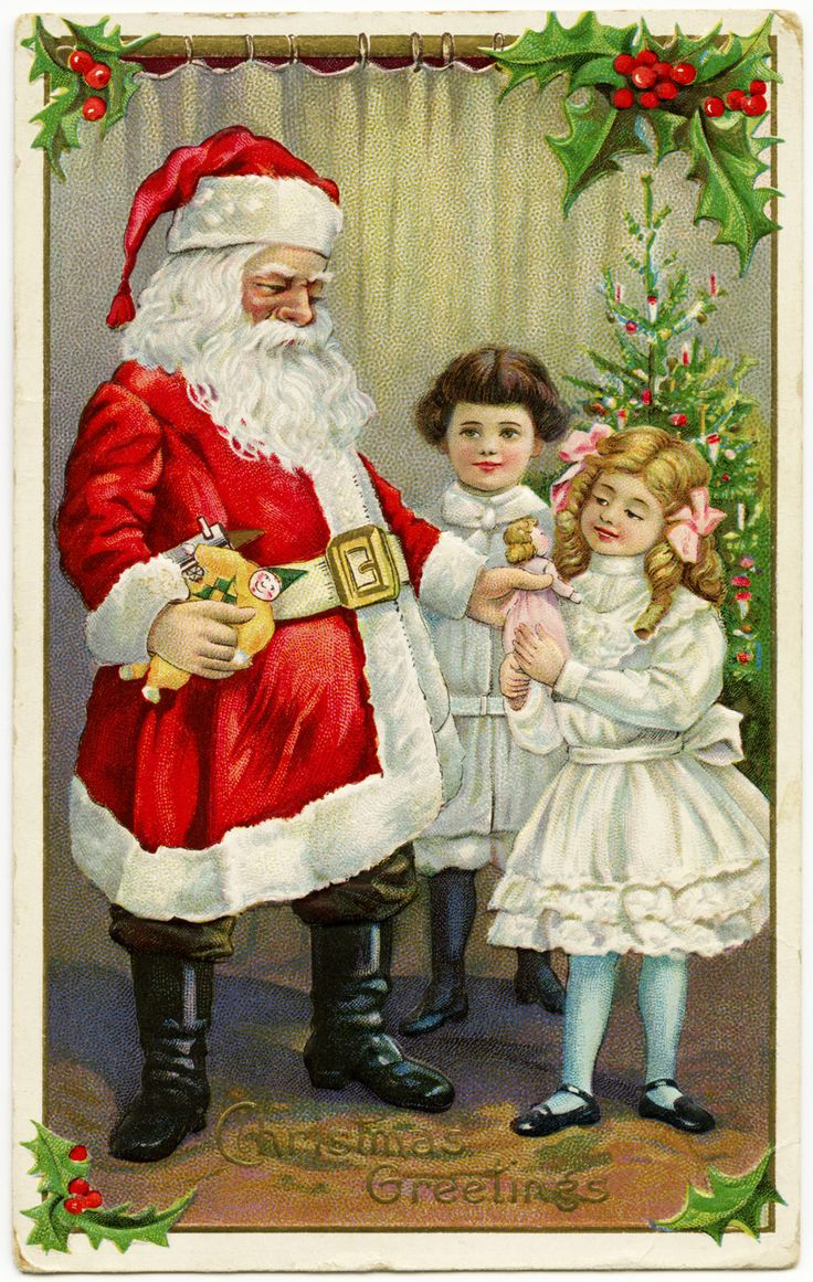 Free printable vintage christmas cards - Old Design Shop Free Printable Victorian Postcard Of Santa Handing Out Gifts