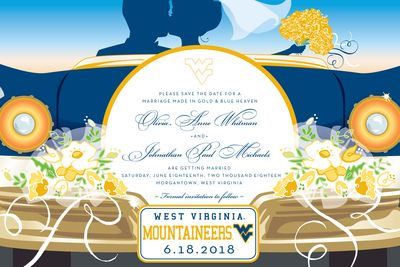 West Virginia University Wedding Car Save the Date Announcements