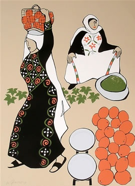 Paula Cox | Art For Palestine.  My MIL tells a story of eating 99 oranges in a day, while picking the fruit as a girl. <3
