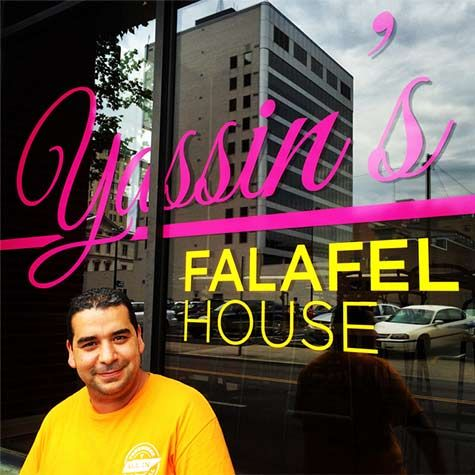Yassin's Falafel House in downtown Knoxville! Tasty falafel sandwiches or salad & yummy hummus! Made fresh! Vegan and gluten-free options. Great owner and service!