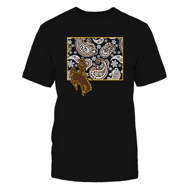 Wyoming Cowboys - State map pattern Front picture Wyoming Cowboys t-shirt, Wyoming Cowboys official tee shirt, gift for Wyoming Cowboys lovers, Wyoming Cowboys official licensed t-shirt, Wyoming Cowboys players, Wyoming Cowboys t-shirt, gifts for Wyoming Cowboys lovers