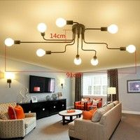 Wish | 8 Heads Chandelier Light Industrial Retro Semi Flush Ceiling Lamp Pendant Lampshade Interior Design Not Include Light Bulbs