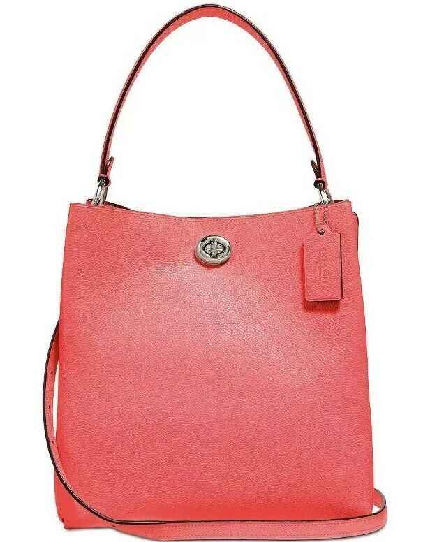 ❤️Coach 55200 Polished Pebble Leather Charlie Bucket Bright Coral Crossbody