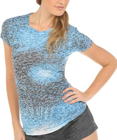 Loving this Turquoise Abstract Burnout Tee on #zulily! #zulilyfinds