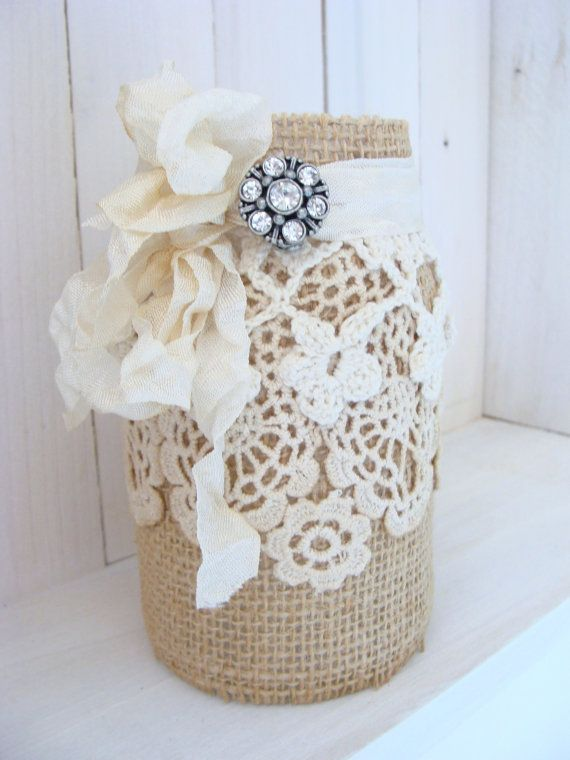 Vaso di muratore di tela pizzo con strass spilla Wedding Decor