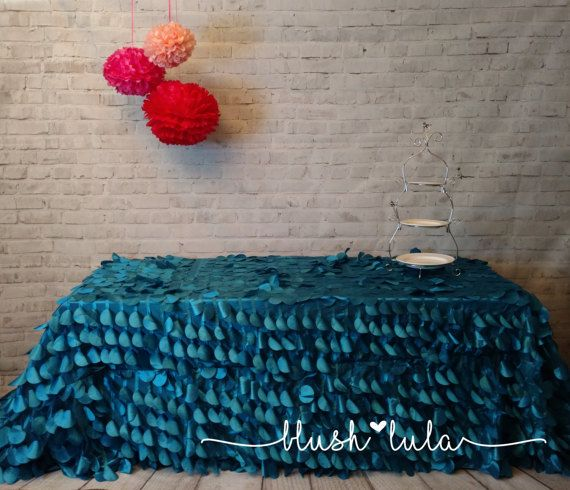 DEEP SEA BLUE Ruffle Tablecloth Dessert Table Cake Table Petal Wedding Tablecloth or Birthday Party