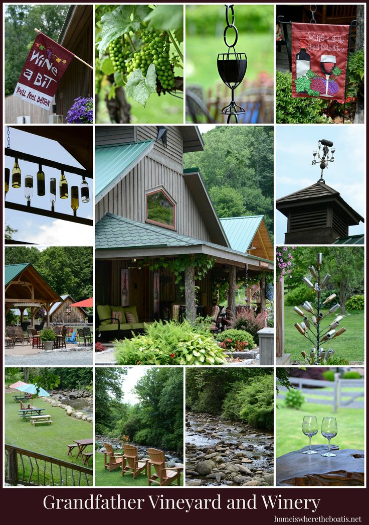 Grandfather Vineyard and Winery in Banner Elk, NC. The terraced mountain vineyard and winery is nestled right on the Watauga River and definitely worth a visit!