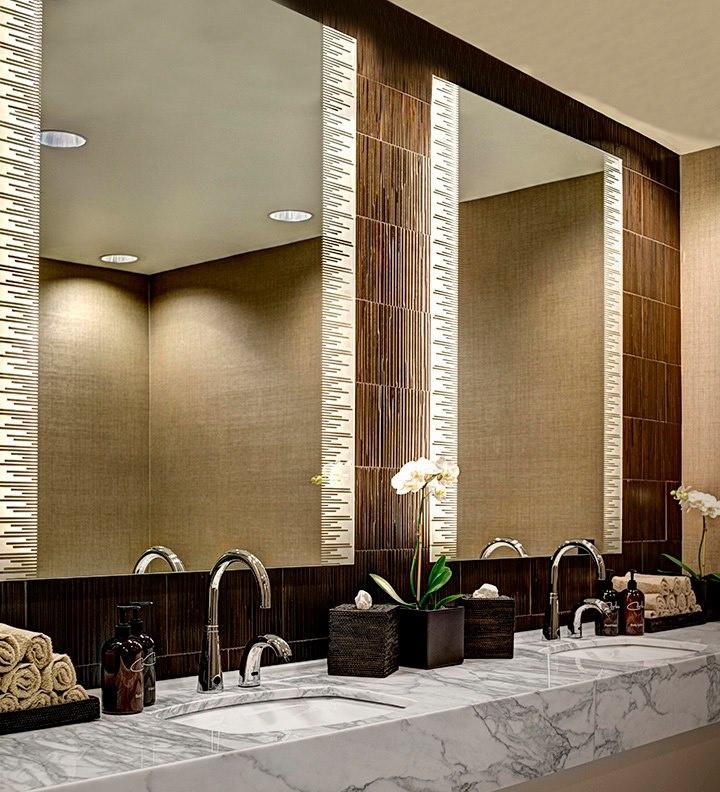Design Idea These Unique Lighted Mirrors Illuminate The Restrooms At The Corbu Spa Salon In