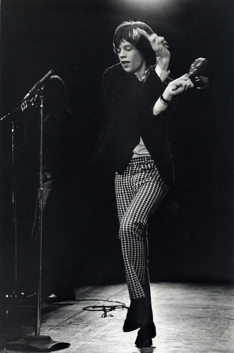 moves like Jagger | the rolling stones | on stage | perform | dance | rock n roll | icon | concert | performer | shake it Mick | black & white photography | striped pants | hot lips