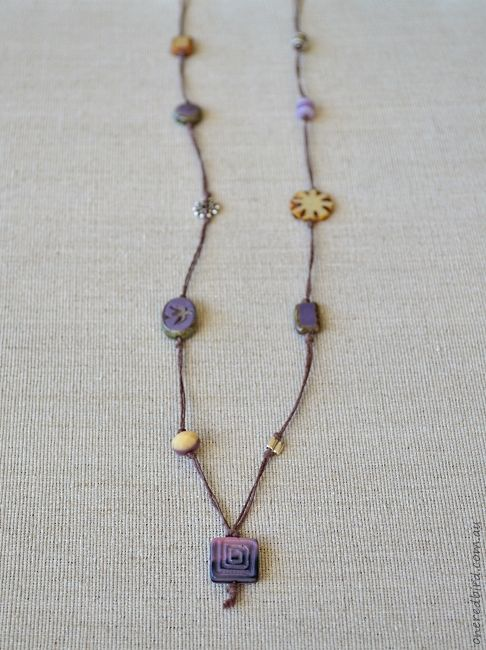 Beige lavender cord necklace ~ Czech glass & sterling silver on brown hemp