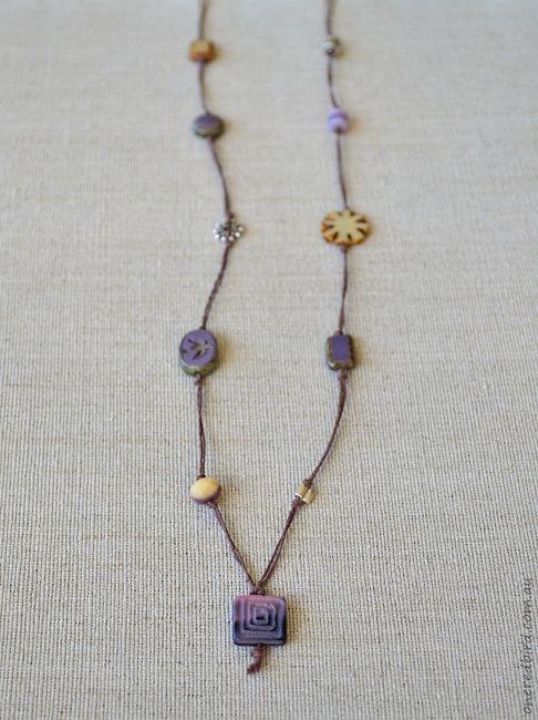 Beige lavender cord necklace ~ Czech glass & sterling silver on brown hemp