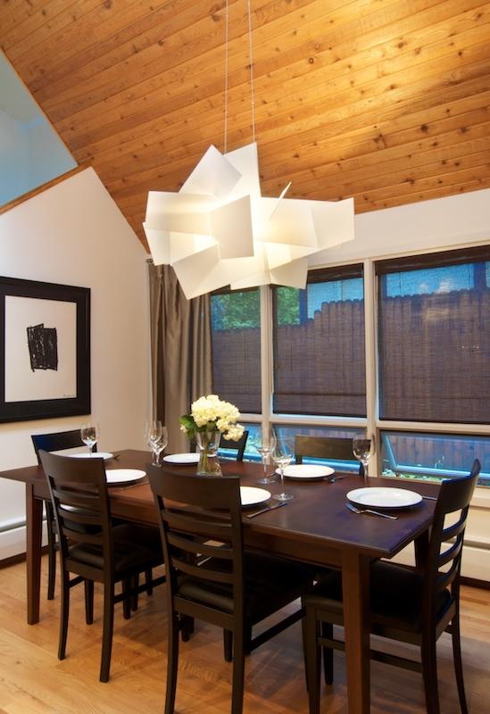 Dining room with Foscarini's Big Bang Fixture.