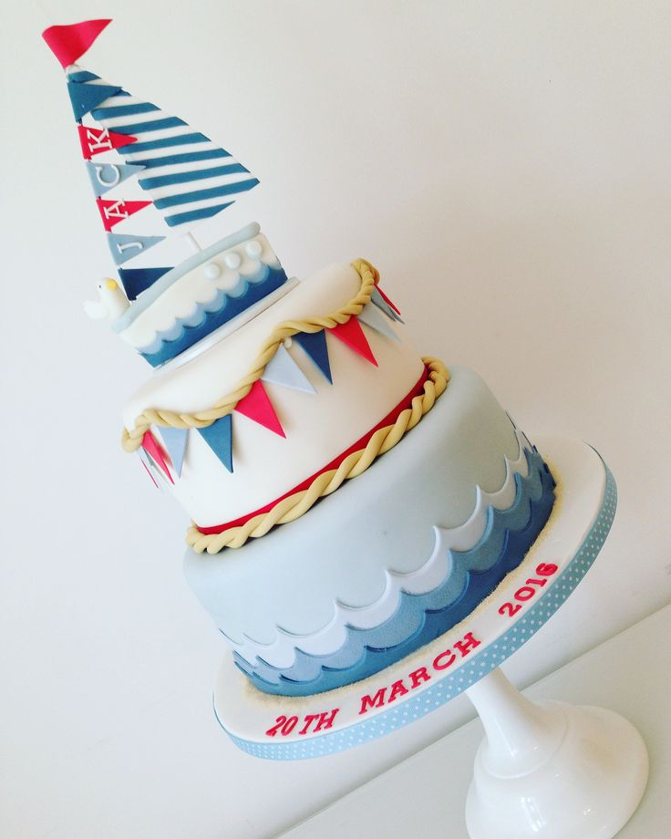 A Nautically Themed Christening Cake with Bunting.