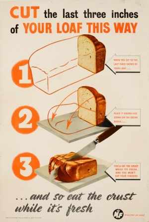 Cut Your Loaf This Way WWII 1940s - original vintage British World War Two food propaganda poster listed on AntikBar.co.uk