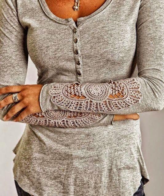 Gray color ladies full Arm Detail lace Blouse