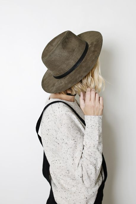 Stiff faux suede hat in a perfect olive green. An affordable answer to your fall wardrobe needs.