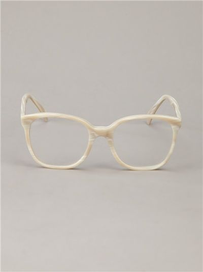 cream and white brushed acetate glasses from cutler gross featuring a fine rounded rectangular frame transparent lenses silver tone hardware detail