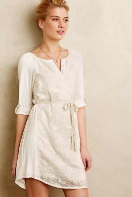 Tiny Paperwhites Embroidered Shirtdress #anthroregistry