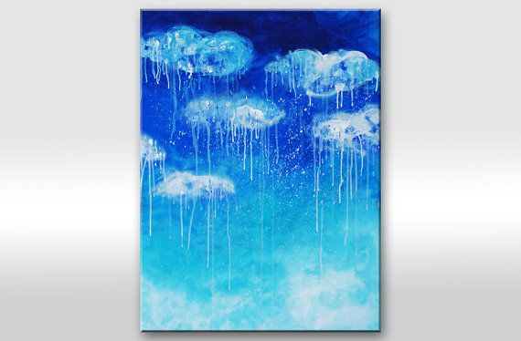 RAIN painting Canvas art  Abstract art on canvas BLUE by artbyasta