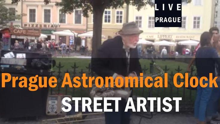 Street Artist Prague - Elderly man singer and trumpet player - Hold Stre...