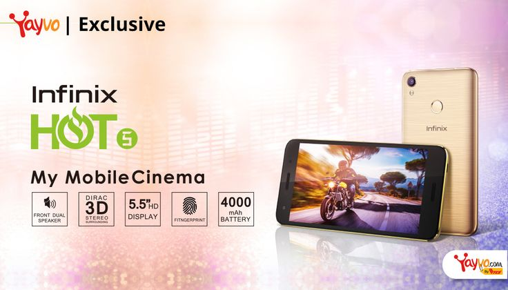 Calling all techies now is your chance to get a hold of the much awaited Infinix's Latest Flagship Phone, Hot 5! Latest phone in the Infinix Hot series, the phone was exclusively launched today on Yayvo.com.  Whether you're looking for a hi-fi top of the line features or a pocket friendly mobile phone, Infinix Hot 5 combines all that and more for just Rs 13,499.   #Hot 5 Launches Exclusively on Yayvo #Infinix's Latest Flagship Phone