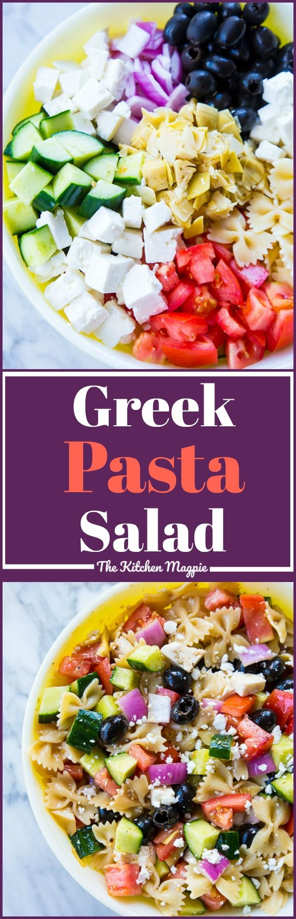 Fast & Easy Greek Pasta Salad, loaded with olives, cucumber and even artichoke hearts! ( which make it the BEST ever!) #Salads #recipes #GreekSalad #healthyrecipes from @kitchenmagpie