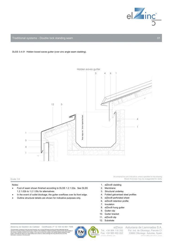 Ventilated Hidden Eaves Box Gutter Detail In Zinc Sig Zinc Copper In 2020 Box Gutter Zinc Roof Gutter