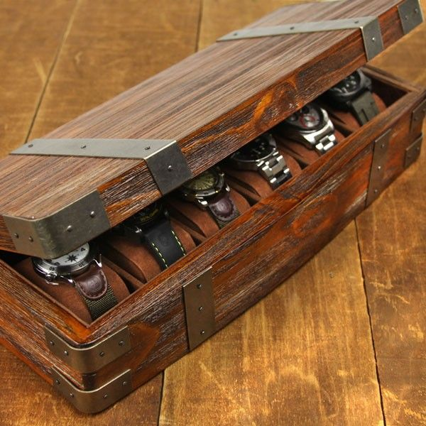Relic Series Sanctum 6 Pc Bow Front Watch Box   Reclaimed Wood
