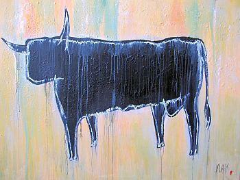 Little Black Bull mixed media on canvas 95 x 125cm FOR SALE