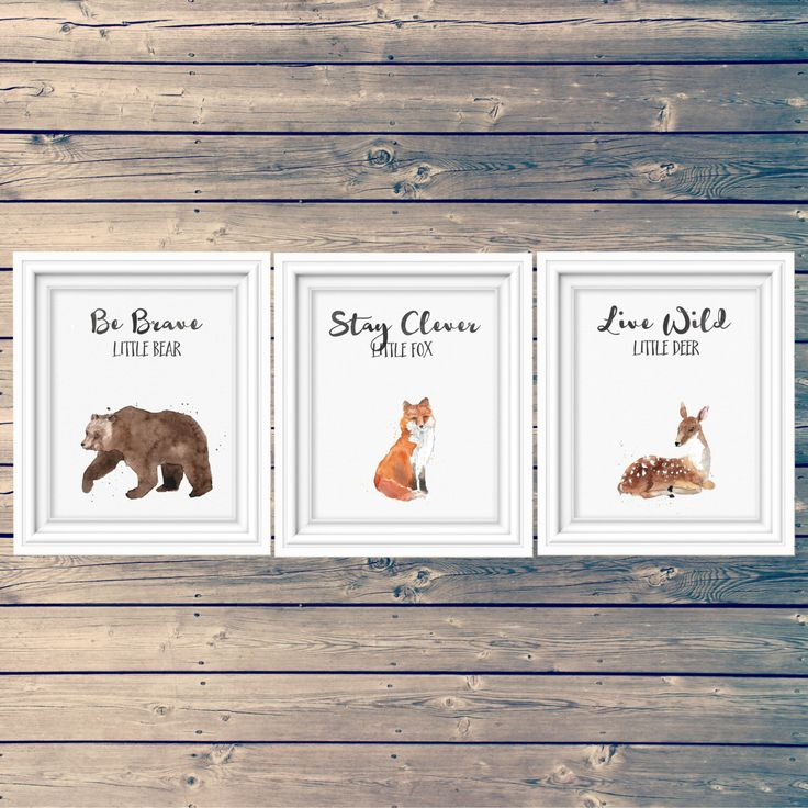 SET OF 3 woodland nursery art prints, bear, fox, deer kid's signs, clever little fox, brave little bear, adventure theme, instant download by tinyinklings on Etsy https://www.etsy.com/listing/263763308/set-of-3-woodland-nursery-art-prints